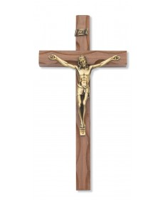 "10"" Walnut Carved Wood Crucifix"