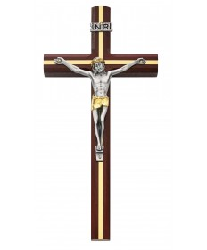 "10"" Cherry Wood Crucifix with Gold Overlay"