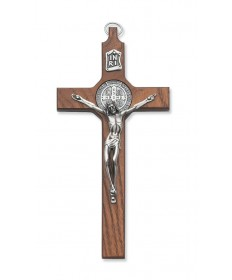"6.5"" Walnut Wood Crucifix - St Benedict"
