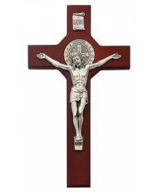 "10.5"" Cherry Wood Crucifix - St Benedict"