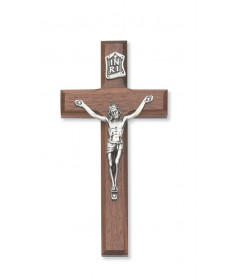 "6"" Walnut Wood Beveled Crucifix"