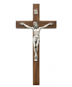 "10"" Walnut Wood Beveled Crucifix"