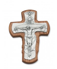 "5.5"" Walnut Stained Wood Trinity Crucifix"