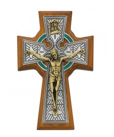 "5.5"" Walnut Wood Enameled Celtic Crucifix"