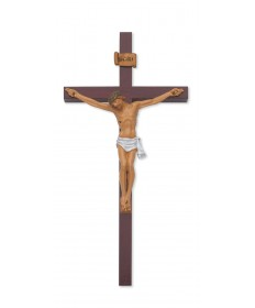 "10"" Cherry Wood Resin Crucifix"
