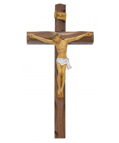 "10"" Carved Walnut Wood Crucifix"