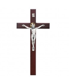 "12"" Cherry Painted Wood Crucifix"