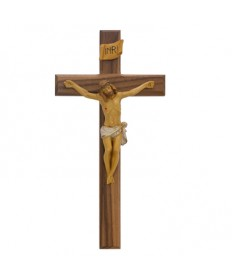 "13"" Walnut Wood Beveled Crucifix"