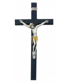 "10"" Blue Wood Two-Tone Crucifix"