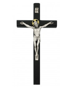 "10"" Black Painted Wood Crucifix"
