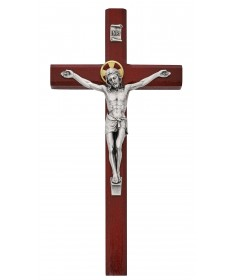 "10"" Cherry Painted Wood Crucifix"