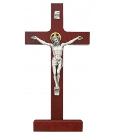 "8"" Cherry Stain Wood Standing Crucifix"