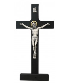 "8"" Black Wood Standing Crucifix"