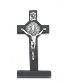 "6"" Black Wood Standing Crucifix - St Benedict"