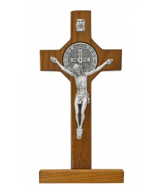 "6"" Walnut Wood Standing Crucifix - St Benedict"