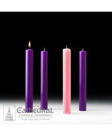 "Advent 51% Beeswax Church Candle Set 1.5"" x 12"" - 3 Purple/1 Pink"