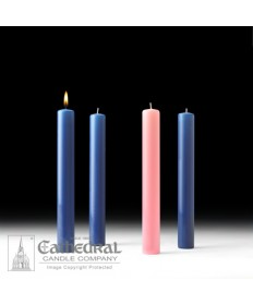 "Advent 51% Beeswax Church Candle Set 1.5"" x 12"" - 3 Sarum Blue/1 Pink"