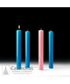 "Advent 51% Beeswax Church Candle Set 1.5"" x 12"" - 3 Light Blue/1 Pink"