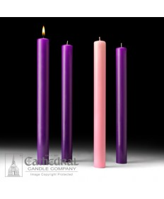 "Advent 51% Beeswax Church Candle Set 1.5"" x 16"" - 3 Purple/1 Pink"