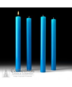 "Advent 51% Beeswax Church Candle Set 1.5"" x 16"" - 4 Light Blue"