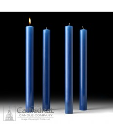 "Advent 51% Beeswax Church Candle Set 1.5"" x 16"" - 4 Sarum Blue"