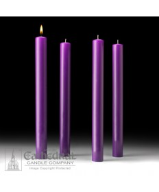"Advent 51% Beeswax Church Candle Set 1.5"" x 16"" - 4 Purple"