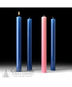 """Advent 51% Beeswax Church Candle Set 1.5"""" x 16"""" - 3 Sarum Blue/1 Pink"""