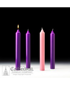 "Advent Stearine Church Candle Set 1.5"" x 12"" - 3 Purple/1 Pink"