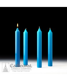 "Advent Stearine Church Candle Set 1.5"" x 12"" - 4 Light Blue"