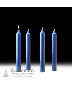 "Advent Stearine Church Candle Set 1.5"" x 12"" - 4 Sarum Blue"