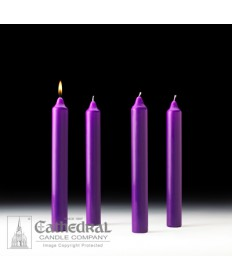 "Advent Stearine Church Candle Set 1.5"" x 12"" - 4 Purple"
