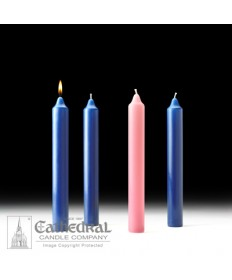 "Advent Stearine Church Candle Set 1.5"" x 12"" - 3 Sarum Blue/1 Pink"
