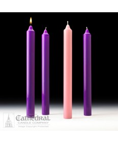 "Advent Stearine Church Candle Set 1.5"" x 16"" - 3 Purple/1 Pink"