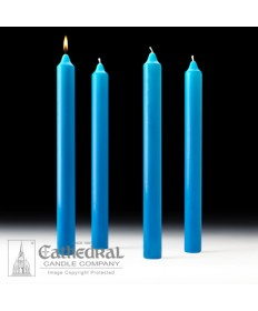 "Advent Stearine Church Candle Set 1.5"" x 16"" - 4 Light Blue"
