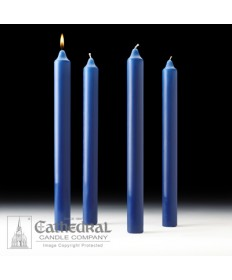 "Advent Stearine Church Candle Set 1.5"" x 16"" - 4 Sarum Blue"