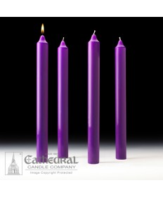 "Advent Stearine Church Candle Set 1.5"" x 16"" - 4 Purple"