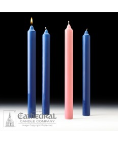 "Advent Stearine Church Candle Set 1.5"" x 16"" - 3 Sarum Blue/1 Pink"