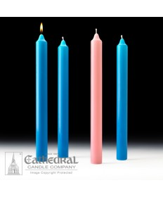 "Advent Stearine Church Candle Set 1.5"" x 16"" - 3 Light Blue/1 Pink"