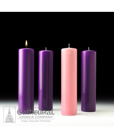 "Advent Pillar Church Candle Set 3"" x 12"" - 3 Purple/1 Pink"