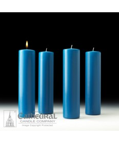 "Advent Pillar Church Candle Set 3"" x 12"" - 4 Light Blue"