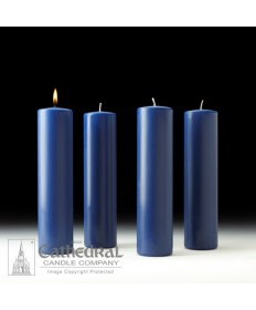 "Advent Pillar Church Candle Set 3"" x 12"" - 4 Blue"