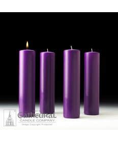 "Advent Pillar Church Candle Set 3"" x 12"" - 4 Purple"