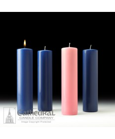 "Advent Pillar Church Candle Set 3"" x 12"" - 3 Sarum Blue/1 Pink"