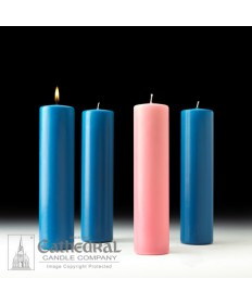 "Advent Pillar Church Candle Set 3"" x 12"" - 3 Light Blue/1 Pink"
