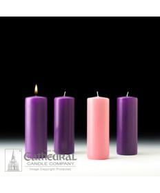 "Advent Pillar Church Candle Set 3"" x 8"" - 3 Purple/1 Pink"
