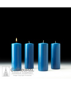"Advent Pillar Church Candle Set 3"" x 8"" - 4 Light Blue"