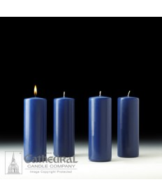 "Advent Pillar Church Candle Set 3"" x 8"" - 4 Sarum Blue"