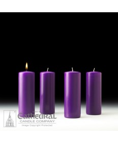 "Advent Pillar Church Candle Set 3"" x 8"" - 4 Purple"