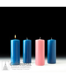 "Advent Pillar Church Candle Set 3"" x 8"" - 3 Light Blue /1 Pink"