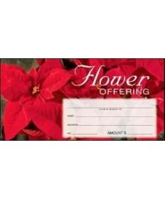 Christmas Flower Offering Envelopes - Red